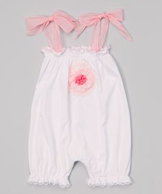Look at this Victoria Kids White Pink Flower Bubble Romper - Infant & Toddler on #zulily today!