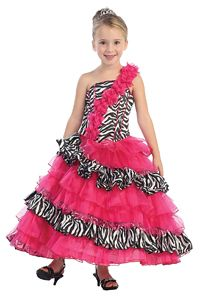 Flower Girl Dresses -Girls Dress Style 5559- One Shoulder Organza and Satin Multi Tiered Zebra Print Dress