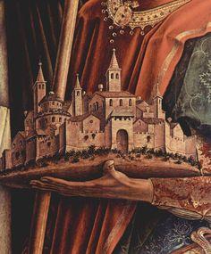 CARLO CRIVELLI (1435 – 1495) | Polittico di San Domenico di Camerino. San Venanzio reca la città di Camerino (dettaglio). Pinacoteca di Brera, Milano.