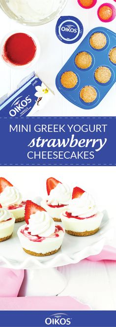 Wouldn't you agree that bite-sized versions of your favorite desserts are simply more delicious than the original? That's why this recipe for Mini Greek Yogurt Strawberry Cheesecakes is our to (Cheesecake Recipes With Condensed Milk) Strawberry Sauce, Strawberry Cheesecake, Cheesecake Recipes, Greek Yogurt Cheesecake, Vanilla Greek Yogurt, Yogurt Cake, Biscuits, Mini Cheesecakes, Paleo Dessert