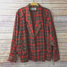 2dc7c4c133d313 Vintage 80s Red Tartan Plaid Blazer Thin Jacket Size S Nice Fit Punk Cute  #Marronier