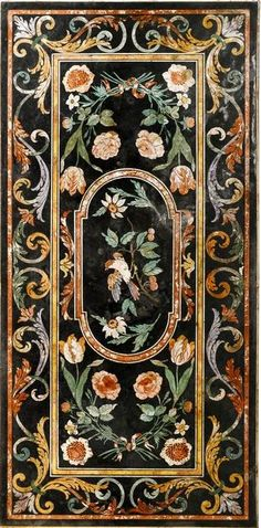 AN ITALIAN SCAGLIOLA TABLE TOP TUSCAN, 18TH CENTURY decorated with a central panel depicting a perched garden bird within formal strapwork and foliate borders, restorations, upon a later wrought frame base