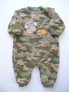 camo baby boy clothes | child o mine fleece coverall camo size newborn 4.5 oz