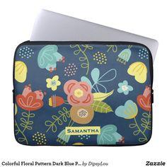 Colorful Floral Pattern Dark Blue Personalised Laptop Sleeve