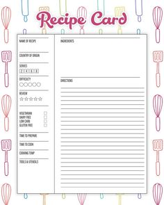The Best Free Printable Kitchen Planner To Organize Your Year! Make 2019 the yea. The Best Free Printable Kitchen Planner To Organize Your Year! Make 2019 the year that you get your Kitchen in tip top organizational shape! Printable Recipe Cards, Printable Labels, Printable Planner, Planner Stickers, Free Printables, Meal Planning Printable, Recipe Printables, Recipe Organization, Planner Organization