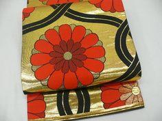 """Gold & Black Silk """"Maru-obi"""" w/Woven """"Kiku"""" Patterns  T294"""