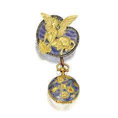 18 Karat Gold, Diamond and Enamel Brooch and Pendant-Watch, René Lalique, <P>1893</P> | lot | Sotheby's