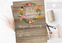 Baby Shower Invitation Floral Wreath Baby Shower Rustic Baby