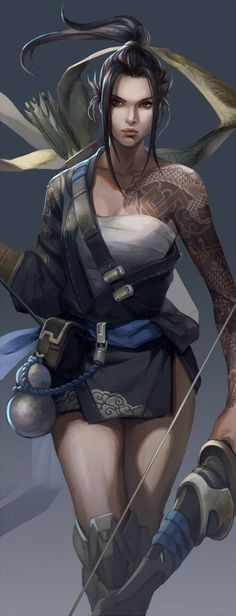 Amazing Female hanzo Art by hage_2013 on twitter #overwatch #hanzo #cosplay #costume