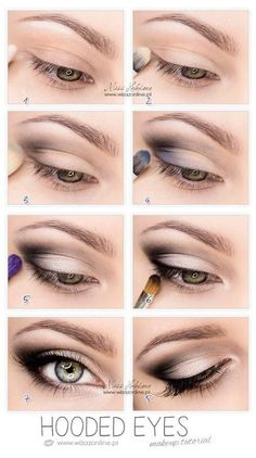 So pretty-------Hooded Eyes Makeup. This works so well for hooded eyes, you wouldn't believe it until u try. It's not that drastic, mostly black eyeshadow, eyeliner and mascara. But it makes a huge difference Makeup Hacks, Eye Makeup Tips, Skin Makeup, Beauty Makeup, Makeup Ideas, Makeup Products, Mac Makeup, Beauty Products, Makeup Brushes