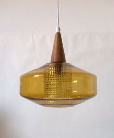 60s glass teak wood Leuchte pendant lamp Carl Fagerlund Lampe Orrefors annees 60