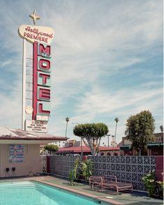 retro motel. love the concrete block wall pattern here.