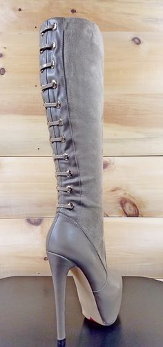 "Luichiny Ra Quelle Taupe 6"" Stiletto Heel Platform Knee Boot"