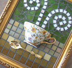Yellow Rose Tea Cup Mosaic Wall Art by MashedPotatoMosaics on Etsy