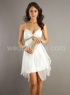 Prom Dresses Online Dress Spaghetti Straps A Line Short Mini Beaded Chiffon White , You will find many long prom dresses and gowns from the top formal dress designers and all the dresses are custom made with high quality Beautiful Prom Dresses, Sexy Dresses, Cute Dresses, Short Dresses, Formal Dresses, Formal Wear, White Homecoming Dresses, Grad Dresses, Party Dresses