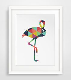 DIGITAL DOWNLOAD ONLY: Colorful Flamingo Art  NO PHYSICAL PRINT OR FRAME INCLUDED  ===   Print out this modern wall artwork from your home