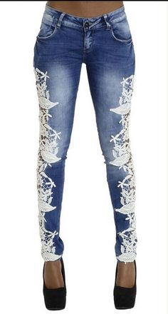 3626da9531 Lace Patchwork Hollow Skinny Straight High Waist Jeans