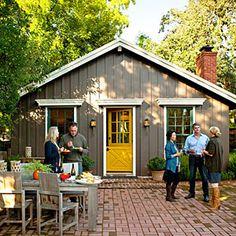the doors, gray hous, little houses, back doors, color schemes, yellow door, grey paint, siding colors, mustard yellow