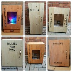 Some recent personalised biltong boxes rustic gift meat jerky Biltong, Preserving Food, Diy Box, Stoves, Wood Boxes, Grills, Diy Hacks, Storage Boxes, Homesteading