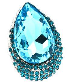 Big Aquamarine Cocktail Ring Crystal Adjustable Teardrop Evening Rhodium
