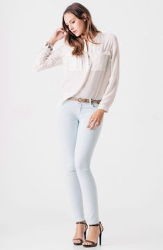 Perfect in Pastel: James Perse Shirt & 7 For All Mankind Jeans #Nordstrom