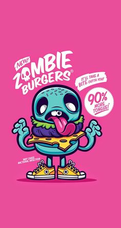 Cute & Funny Pop Art cartoon wallpaper for iPhones! zombie burgers - @mobile9 | Wallpapers for iPhone 5/5S/5c, iPhone 6 & 6 Plus #background #popart #pink