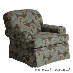 Rosamond's Chair in Hallem/Jasperware. Image: Calico Corners. #decorative_fabric #custom_furniture #brown #blue #paisley