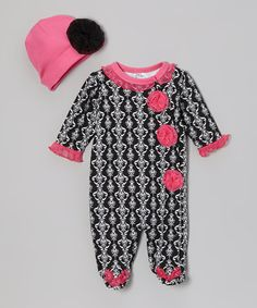 Take a look at this Black Damask Footie & Beanie by Baby Essentials on @zulily today!