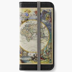 'vintage map of the world' iPhone Wallet by ModernFaces Iphone Wallet, Iphone 6, Map Design, Open Book, Sell Your Art, My Arts, Art Prints, Printed, World