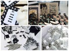 Outros itens personalizados para a festa preto e branco - Fotos: Pinterest e Carlos Pimenta