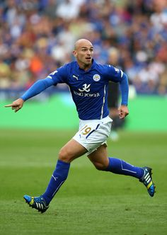 Esteban Cambiasso of Leicester City against Manchester United