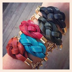 Leather woven bracelet