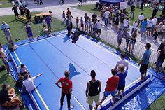 AmazingsportsTM Inflatable Tumbling Mats Blue Airtrak Mat For Cheerleading Gymastics Training Beach On Water Slip N Slide, Gym Mats, Cheerleading, Gymnastics, Bodybuilding, Basketball Court, Beach, Water, Sports
