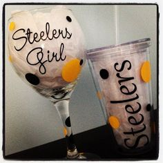 Custom Steelers Wine Glass Pint Glass by SieraDiBellaDesigns, $16.00