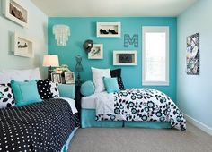 Guest Bedroom - Polygon Northwest Homes. Hannah loved this room @ the model . Guest Bedroom - Polygon Northwest Homes. Hannah loved this room @ the model home but I think we could do this in Lilys room Turquoise Teen Bedroom, Blue Teen Girl Bedroom, Aqua Bedrooms, Bedroom Turquoise, Teenage Girl Bedrooms, Girl Rooms, Teal Bedroom Decor, Preteen Girls Rooms, Tiffany Blue Bedroom