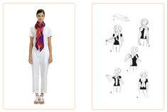 この結び方《クリス・クロス》には、90cmまたは140cmのカレ、またはマキシ・ツイリー1点を使います。《SILK KNOTS》アプリで、エルメスのカレをもっと楽しく! #Hermes #Silk #SilkKnots