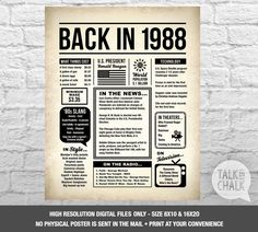 Back In 1988 Newspaper-Style DIGITAL Poster, 30th Birthday PRINTABLE Sign, 30th Birthday Poster, 30th Birthday Gift, 1988 Sign, 1988 Poster by TalkInChalk on Etsy https://www.etsy.com/listing/559124688/back-in-1988-newspaper-style-digital