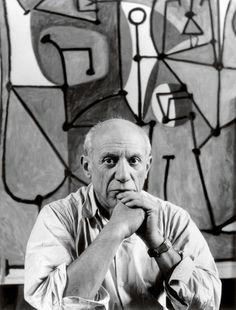 Pablo Picasso in front of The Kitchen (La cuisine, 1948) in his rue des Grands-Augustins studio, Paris, 1948. Photo: © Herbert List/Magnum Photos