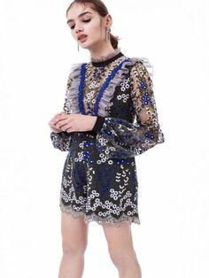 ff9b0b8ab08a Embroidery Falbala Split-joint Long Sleeves Short Jumpsuits