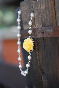 Yellow Rose Bridesmaids Necklace with White Swarovski Pears