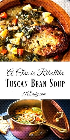 A Classic Ribollita Tuscan Bean Soup at You can find Fall soup recipes and more on our website.A Classic Ribollita Tuscan Bean Soup at Italian Soup Recipes, Fall Soup Recipes, Stir Fry Recipes, Tuscan Bean Soup, Shrimp Stir Fry, Chicken Fajitas, Chocolate, Stuffed Mushrooms, Tasty