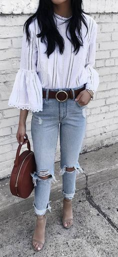 top + ripped jeans + bag + heels