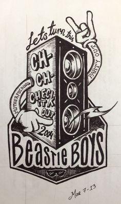 """""""Ch-Check It Out,"""" Beastie Boys, amo este cartel lo voy a usar de volante para mi recibida"""