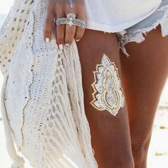 beach, boho, fashion, girl, henna, indie, indie style, ring, style, summer, tan, tattoo