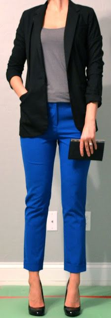 Outfit Posts: outfit post: blue pants, grey tank, black blazer Very simple and elegant Fashion Moda, Work Fashion, Fashion Pants, Blue Pants Outfit, Black Pants, Grey Trousers, Grey Outfit, Cropped Pants, Harem Pants