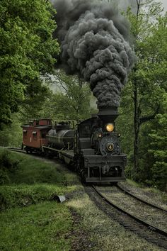 Shay #4 pulling a freight comes around the curve. Photography by Mark Serfass ~ Gorgeous old train moving down the track. What a plume of thick, black smoke!