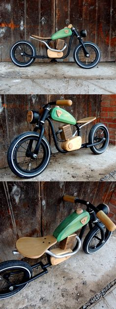 Wooden Projects, Fun Projects, Wood Crafts, Bicycle Cafe, Wood Bike, Kids Outdoor Play, Balance Bike, Kids Birthday Gifts, Garage Art