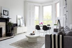 Bright, monochrome living space | Ollie and Sebs Haus