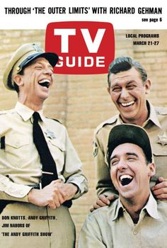 """TV Guide, March 21, 1964 - Don Knotts, Andy Griffith, and Jim Nabors of """"The Andy Griffith Show"""""""