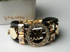 Michael Kors Inspired MK Logo 4 Row Bling Bracelet Gold / Black